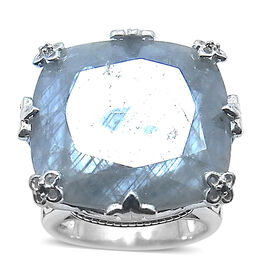 Natural Silver Sapphire (Cush 34.00 Ct), Black Diamond Ring in Rhodium Plated Sterling Silver 34.025 Ct.
