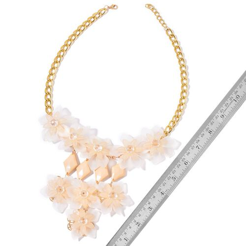 Simulated White Diamond Floral Necklace (Size 22 with 1 inch Extender) in Yellow Gold Tone