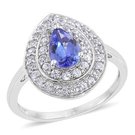 Tanzanite (Pear 1.35 Ct), Natural Cambodian Zircon Ring in Platinum Overlay Sterling Silver 2.250 Ct.