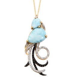 GP Larimar (Pear 5.69 Ct), Kanchanaburi Blue Sapphire and Multi Gemstone Phoenix Inspired Pendant With Chain in 14K Gold Overlay Sterling Silver 7.500 Ct. Silver wt. 5.06 Gms.
