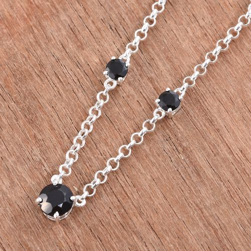 Boi Ploi Black Spinel Necklace (Size 18) in Sterling Silver.