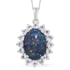 Australian Boulder Opal (Ovl 5.25 Ct), White Topaz Pendant with Chain in Platinum Overlay Sterling Silver 7.500 Ct.