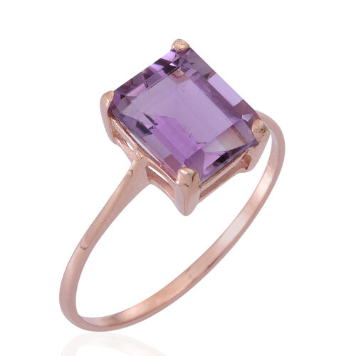 AA Rose De France Amethyst (Oct) Solitaire Ring in Rose Gold Overlay Sterling Silver 3.000 Ct.