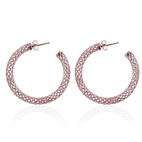 Rose Gold Overlay Sterling Silver Earrings (with Push Back), Silver wt 4.00 Gms.