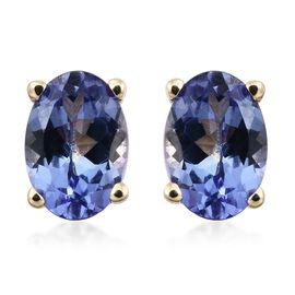 AA Tanzanite Stud Earrings (with Push Back) in 9K Gold  1 Carat