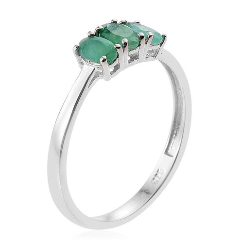 Kagem Zambian Emerald (Ovl) Trilogy Ring in Platinum Overlay Sterling Silver 0.660 Ct.