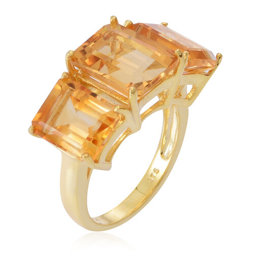 Rare AAA Uruguay Citrine (Oct 4.00 Ct) 3 Stone Ring in 14K Gold Overlay Sterling Silver 10.000 Ct.