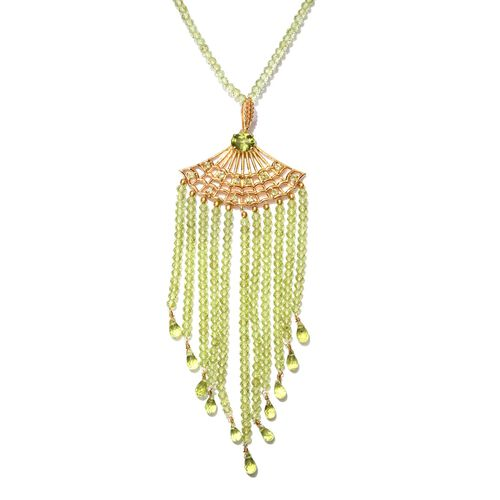 Limited Available- Designer Inspired AAA Hebei Peridot (Rnd) Hand Made Waterfall Necklace (Size 18) in Yellow Gold Overlay Sterling Silver 117.250 Ct.