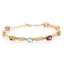 Amethyst (Ovl), Mozambique Garnet, Citrine, Hebei Peridot and Sky Blue Topaz Bracelet (Size 7.5 with Extender) in 14K Gold Overlay Sterling Silver 6.000 Ct.