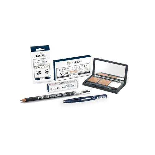 BROW KIT- Eylure Firm Brow Pencil Blonde, Eye Brow Palette Blonde, Brow Stencils, Brow Nourishing /Oil and Brow & Lash Tweezer with Comb