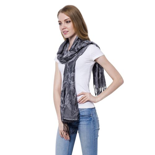 White Colour Blooming Rose Pattern Dark Grey Colour Scarf with Tassels (Size 180x70 Cm)