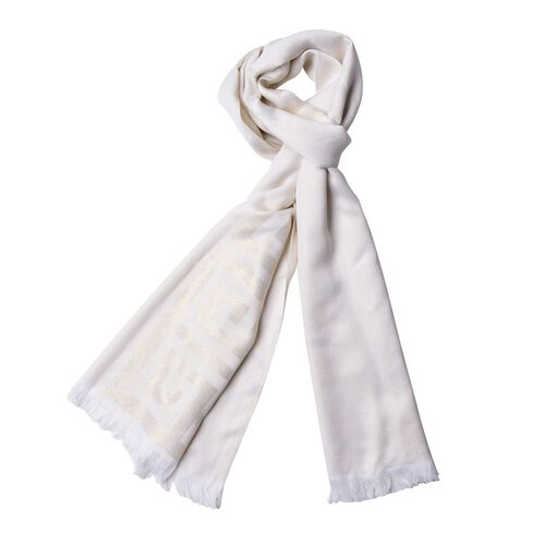 New For Season - Wall Pattern White Colour Scarf (Size 180x70 Cm)