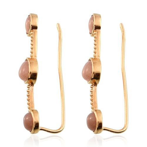 Morogoro Peach Sunstone (Ovl) Climber Earrings in 14K Gold Overlay Sterling Silver 5.500 Ct.