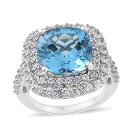 Marambaia Topaz (Cush 10.70 Ct), Natural Cambodian Zircon Ring in Platinum Overlay Sterling Silver 13.750 Ct. Silver wt 7.22 Gms.
