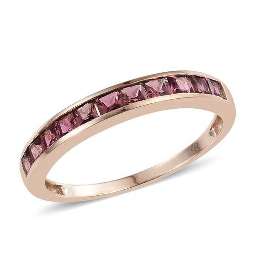 9K Y Gold Pink Tourmaline (Sqr) Half Eternity Band Ring 1.000 Ct.