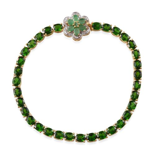 Russian Diopside (Ovl), Kagem Zambian Emerald and White Topaz Bracelet in 14K Gold Overlay Sterling Silver (Size 7.5) 14.350 Ct.