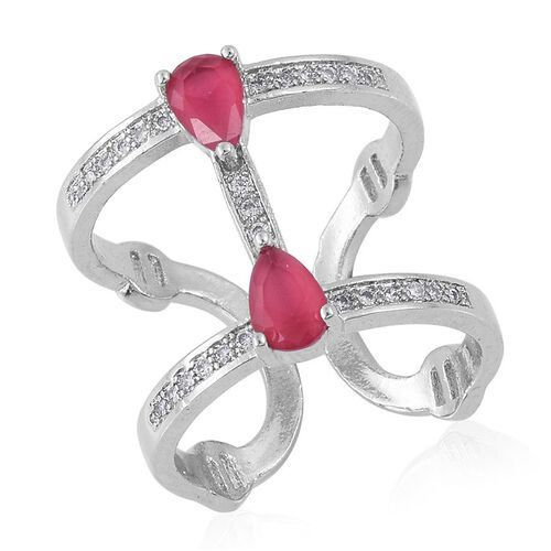 Simulated Ruby and White Austrian Crystal Ring in Silver Bond