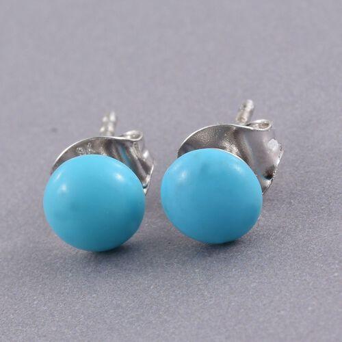 9K W Gold AA Arizona Sleeping Beauty Turquoise (Rnd) Stud Earrings (with Push Back) 1.400 Ct.