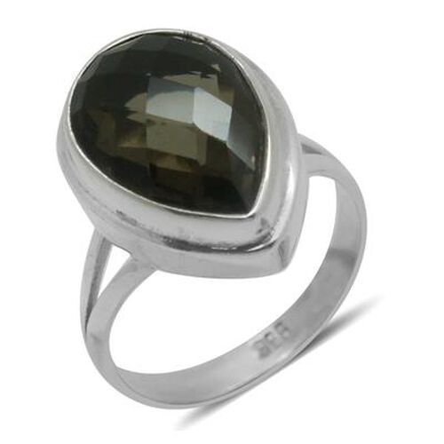 Royal Bali Collection Brazilian Smoky Quartz (Pear) Solitaire Ring in Sterling Silver 5.160 Ct.
