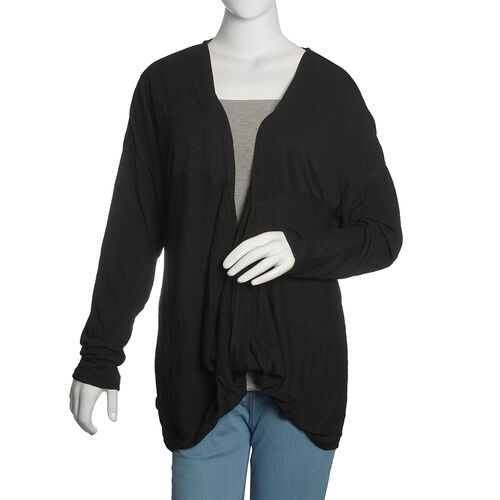 Black Colour Cowl Neck Pattern Cardigan (Size Large / Xtra Large)