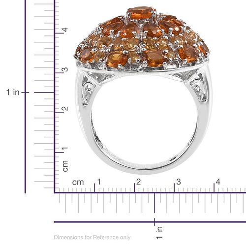 GP Madeira Citrine (Rnd), Citrine and Kanchanaburi Blue Sapphire Ring in Platinum Overlay Sterling Silver 4.750 Ct.