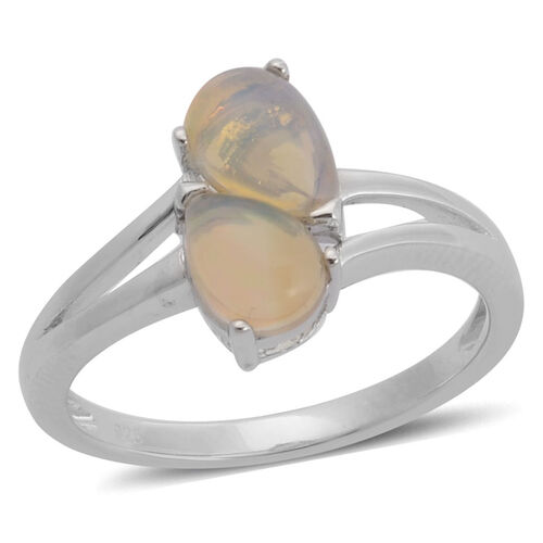 Ethiopian Welo Opal (Pear) Ring in Rhodium Plated Sterling Silver 0.900 Ct.