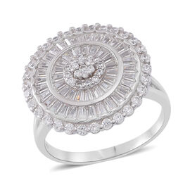 ELANZA AAA Simulated White Diamond (Rnd) Cluster Ring in Rhodium Plated Sterling Silver, Silver wt. 7.89 Gms.