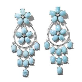 Larimar (Ovl), Natural Cambodian Zircon Flower Dangle Earrings (with Push Back) in Platinum Overlay Sterling Silver 33.000 Ct. Silver wt 16.00 Gms.