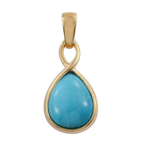 Arizona Sleeping Beauty Turquoise (Pear) Solitaire Pendant in 14K Gold Overlay Sterling Silver 1.750 Ct.