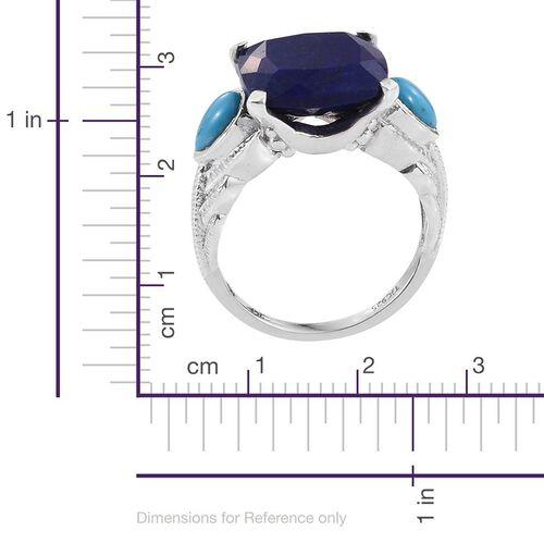 Royal Jaipur Lapis Lazuli (Cush 9.65 Ct), Arizona Sleeping Beauty Turquoise and Burmese Ruby Ring in Platinum Overlay Sterling Silver 10.750 Ct.