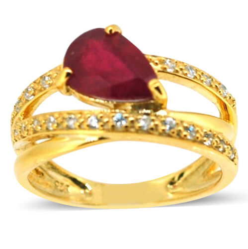 African Ruby (Pear 2.50 Ct), Natural Cambodian White Zircon Ring in 14K Gold Overlay Sterling Silver 3.000 Ct.