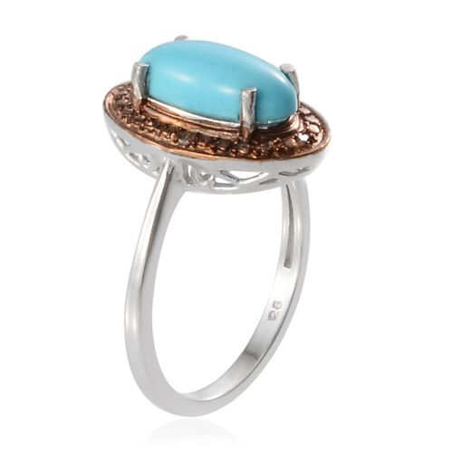 Arizona Sleeping Beauty Turquoise (Ovl 1.75 Ct), Natural Champagne Diamond Ring in Platinum Overlay Sterling Silver 1.780 Ct.