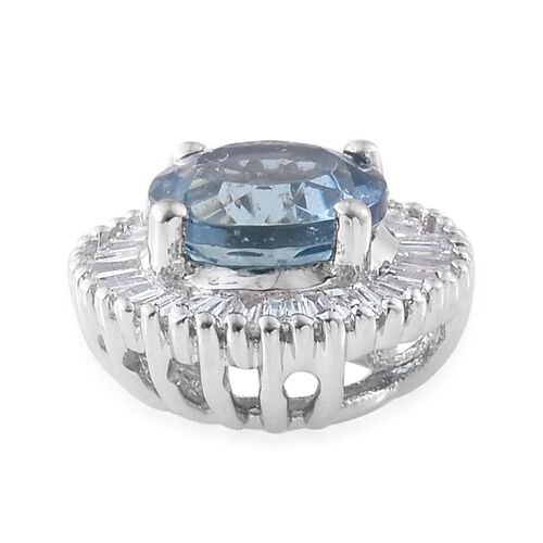 RHAPSODY 950 Platinum 0.97 Ct AAAA Santa Maria Aquamarine Halo Pendant with Diamond VS E-F