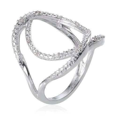 Diamond (Rnd) Ring in Platinum Overlay Sterling Silver 0.100 Ct.