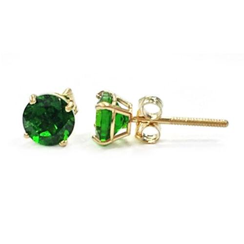 14K Y Gold Russian Diopside (Rnd) Stud Earrings 1.211 Ct.