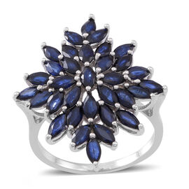 Kanchanaburi Blue Sapphire (Mrq) Cluster Ring in Rhodium Plated Sterling Silver 6.500 Ct. Silver wt 5.00 Gms.