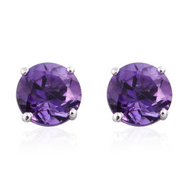 9K W Gold AAA Amethyst (Rnd) Stud Earrings (with Push Back) 1.750 Ct.