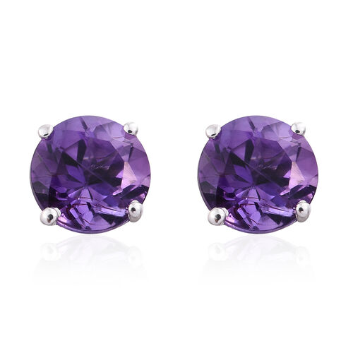 9K White Gold 1.75 Ct AAA Amethyst (Rnd) Stud Earrings (with Push Back)