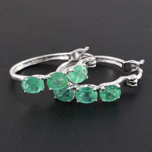 9K White Gold 2 Carat AA Boyaca Colombian Emerald Hoop Earrings (with Clasp)