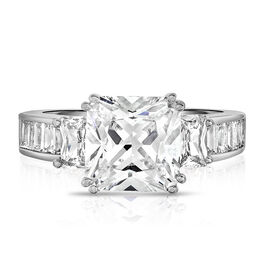 AAA Simulated Diamond (Princess Cut) Ring in Silver Plated, Equivalent Ct Wt 7.00 Cts.