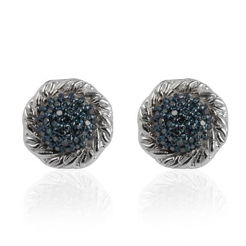 0.35 Ct Blue Diamond Cluster Earrings in Platinum Plated Silver
