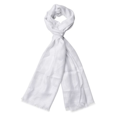 Checks Pattern Silver and White Colour Scarf (Size 180x70 Cm)