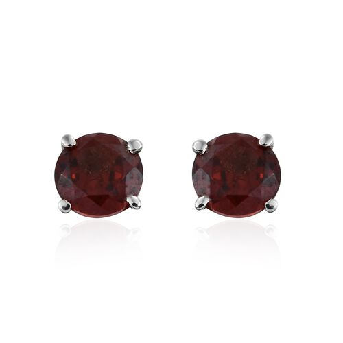 Mozambique Garnet (Rnd) Adjustable Bracelet (Size 6.5 to 8.5) and Stud Earrings (with Push Back) in Platinum Overlay Stainless Steel 4.500 Ct.