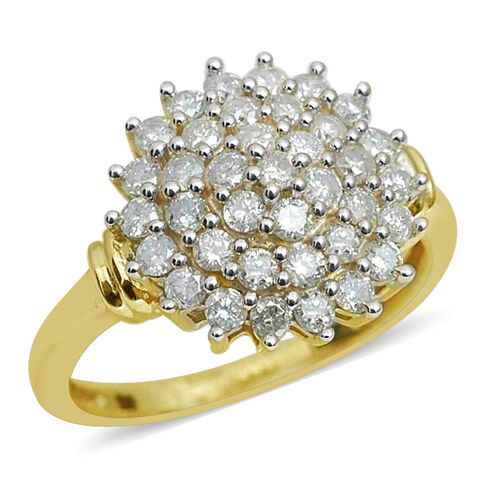 1 Carat SGL Certified Diamond (I3/G-H) Cluster Ring in 9K Gold