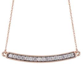 9K Rose Gold 0.75 Carat Natural Cambodian Zircon Smile Necklace (Size 18)