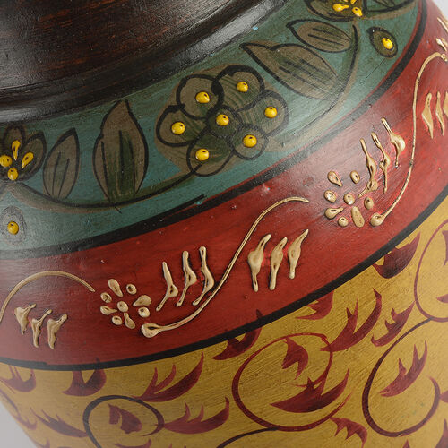 Limited Edition - Designer Inspired Hand Painted Floral Terracotta Vase Red, Yellow and Multi Colour
