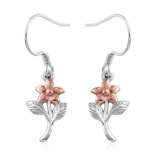 Platinum and Rose Gold Overlay Sterling Silver Floral and Leaves Hook Earrings