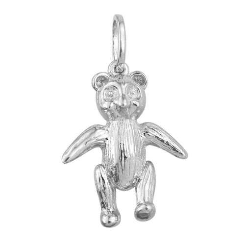 Teddy Bear Silver Charm Pendant in Platinum Overlay, Silver wt 4.00 Gms.