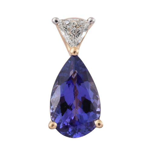 ILIANA 18K Y Gold AAA Tanzanite (Pear 1.04 Ct), Diamond (SI/G-H) Pendant 1.190 Ct.