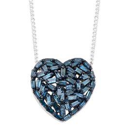 GP Blue Diamond (Bgt), Kanchanaburi Blue Sapphire Pendant with Chain in Platinum Overlay Sterling Silver 0.330 Ct.